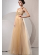 A-line Gold Straps Appliques and Ruching Floor-length Organza Prom Dress
