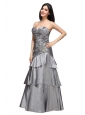 A-line Grey Sweetheart Appliques and Ruching Ruffled Layers Prom Dress