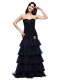 A-line Navy Blue Sweetheart Ruffled Layers Beading Appliques Prom Dress