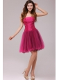 A-line Strapless Beading Organza Fuchsia Prom Dress
