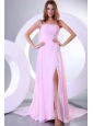 Beading and Ruche One Shoulder Baby Pink Watteau Train Prom Dress