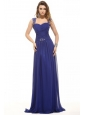 Blue Empire Straps Floor-length Chiffon Beading Prom Dress