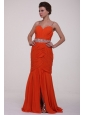 Brush Train Orange Red Spaghetti Straps Prom Dress with Beading