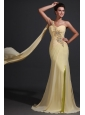 Column One Shoulder Appliques Champagne Watteau Train Prom Dress
