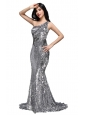 Column Sequins High Slit Silver One Shoulder Brush Train Prom Dress