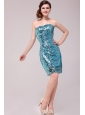 Column Strapless Blue Sequins Prom Dress with Knee-length
