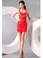 Column Straps Beading and Ruching Short Red Prom Dress