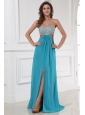 Empire Chiffon Sweetheart Beading and High Silt Floor-length Prom Dress