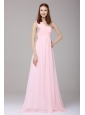 Empire One Shoulder Chiffon Beading Brush Train Prom Dress in Baby Pink
