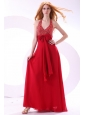 Empire Wine Red Halter Top Beading Bow Chiffon Prom Dress