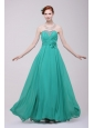 Green Chiffon Empire Beading and Flower Prom Dress for 2014 Spring