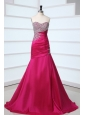 Hot Pink Sweetheart A-line Beading and Rhinestone Sweep Train Prom Dress