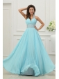 Light Blue Halter Top Neck Beading and Pleats Long Prom Dres
