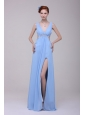 Light Blue V-neck Beading and High Silt Prom Dress in Chiffon