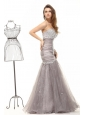 Mermaid Grey Sweetheart Beading and Ruching Organza Long Prom Dress