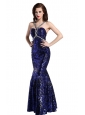 Mermaid Straps Sequins Beading Floor-length Purple Prom Dress