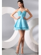 Princess Light Blue Sweetheart Mini-length Beading Prom Dress