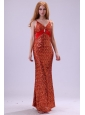 Sexy Column Straps Floor-length Red Sequins Prom Dress with Paillette