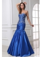 Sexy Mermaid Sweetheart Floor-length Blue Taffeta Prom Dress with Beading