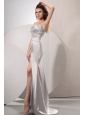 Sliver Sweetheart Beaded Prom Dress with High Slit Brush Train