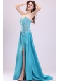 Sweetheart Empire Teal Sweep Train Prom Dress with White Embroidery