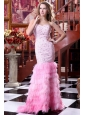 Sweetheart Mermaid Beading and Ruffled Layers Sweep Train Prom Dress
