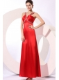 Wine Red Column Straps Beading and Ruching Prom Dress