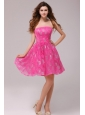 A-line Hot Pink Strapless Knee-length Prom Dress
