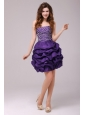 Beaded Purple Short Prom Dress with Pick-ups Mini-lengt