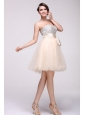 Champagne A-line Sweetheart Beaded Knee-length Prom Dress