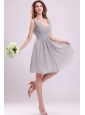 Empire Gray V-neck Ruching Chiffon Knee-length Prom Dress
