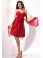 Empire Wine Red Ruching Chiffon Knee-length Prom Dress