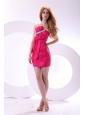 Hot Pink Empire One Shoulder Taffeta Mini-length Prom Dress with Beading