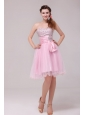 Princess Baby Pink Strapless Beading and Ruching Prom Dress