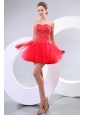 Red A-line Sweetheart Beading Tulle Mini-length Prom Dress