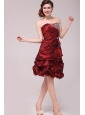 Strapless Knee-length Burgundy Prom Dress with Pick-ups and Beading
