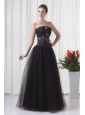 Black A-line Strapless Tulle Beading Floor-length Prom Dress