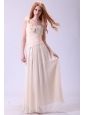 Column One Shoulder Beading Chiffon Long Champagne Prom Dress