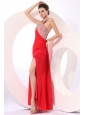 Column Red Halter Beading Chiffon Prom Dress with Criss Cross