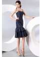 Column Spaghetti Straps Taffeta Navy Blue Prom Dress