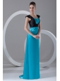 Column Straps Blue and Black Ruching and Appliques Elastic Woven Satin Prom Dress