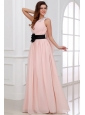 Discount Empire One Shoulder Chiffon Appliques Pink Prom Dress