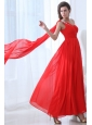 Elegant Empire One Shoulder Red Watteau Train Prom Dress with Beading