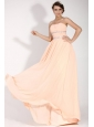 Elegant Empire Strapless Champagne Chiffon Floor-length Prom Dress with Beading