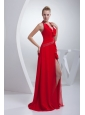 Empire Brush Train Red Beading Halter Chiffon 2014 Prom Dress