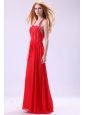 Empire Halter Beading Floor-length Red Chiffon Prom Dress