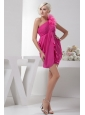 Empire One Shoulder Empire Hot Pink Chiffon Mini-length Prom Dress