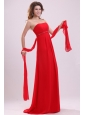 Empire Red Strapless Beading and Ruching Chiffon Prom Dress