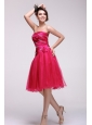Pretty A-line Strapless Knee-length Beading Taffeta Hot Pink Prom Dress