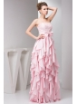 Pretty Empire Strapless Floor-length Taffeta Ruffles and Bowknot Pink Prom Dress